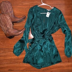Silky Green Romper Large